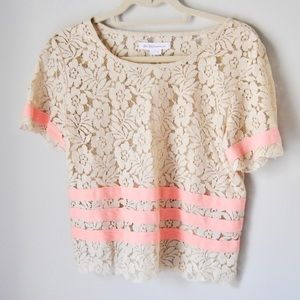 BCBGeneration cream lace and pink striped top